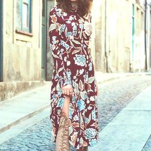 Zara Floral Print Midi Dress Size Small